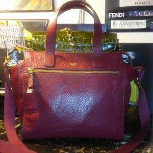 Handbags - FOSSIL burgundy leather satchel/cross body bag